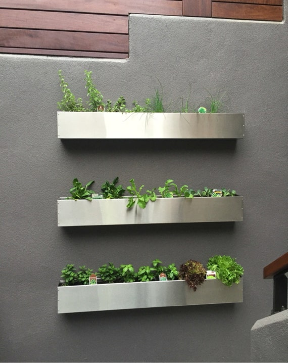 Floating Stainless Steel Hanging Planter Box Succulent Wall Etsy
