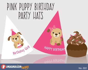 Pink Puppy Birthday PRINTABLE Party Hats Printables Dog Decorations Girls Set No 022