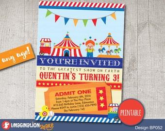 circus invitation etsy