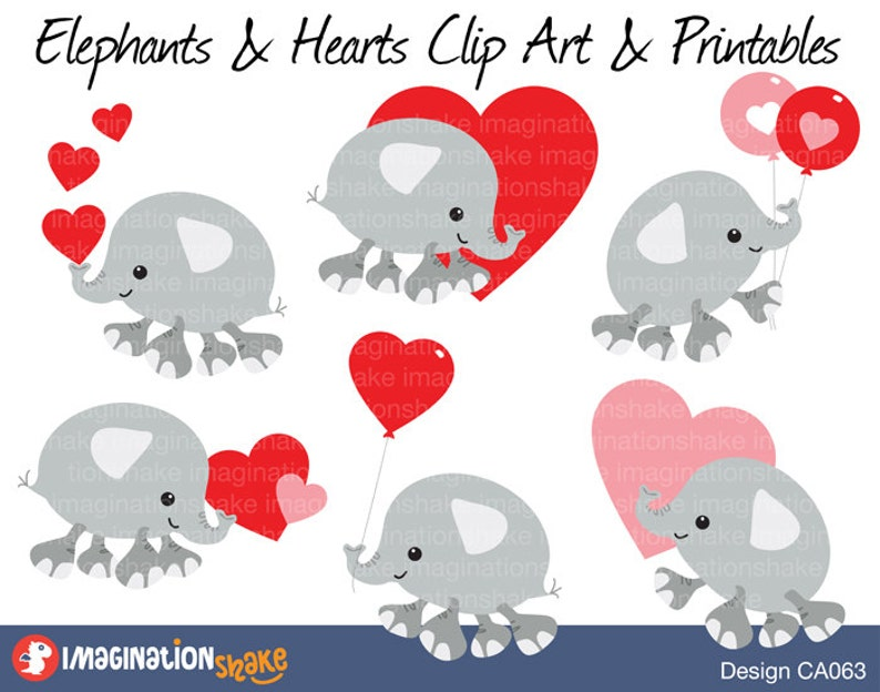 11351a9c2395d Valentine's Day Elephants Clip Art & Printables Set CA063 / Elephants and  Hearts Clipart / Hearts Decorations / Valentine Decorations Hearts