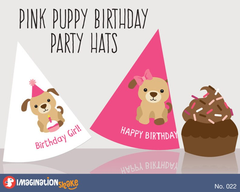 Pink Puppy Birthday PRINTABLE Party Hats Printables