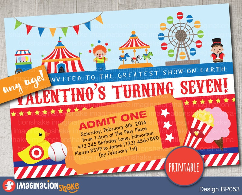 Personalized Carnival Circus Amusement Park Birthday Party Invitation PRINTABLE DIY Theme Invite Custom