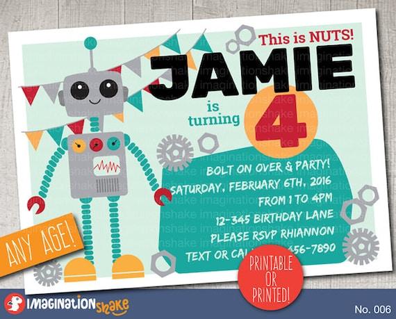 personalized robot birthday party invitation printable diy etsy