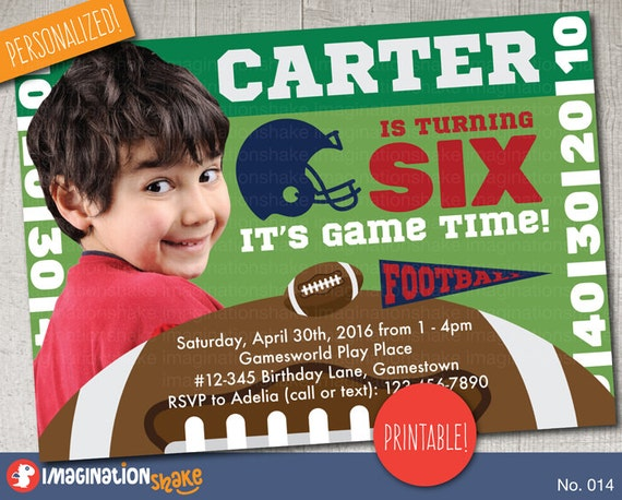 personalized football birthday party invitation printable diy etsy