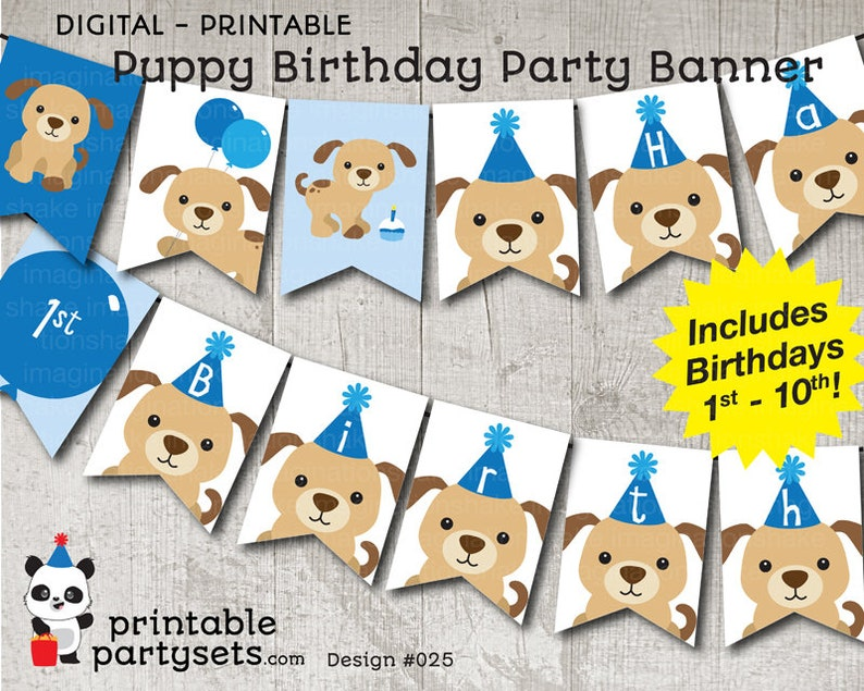 Blue Puppy Birthday Party Banner PRINTABLE Dog