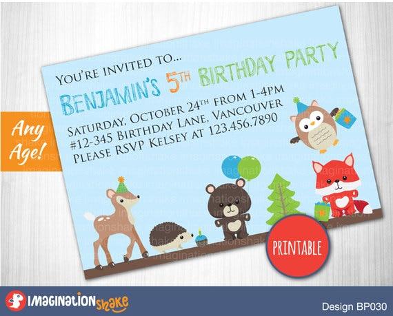 Personalized Woodland Animal Birthday Party Invitation