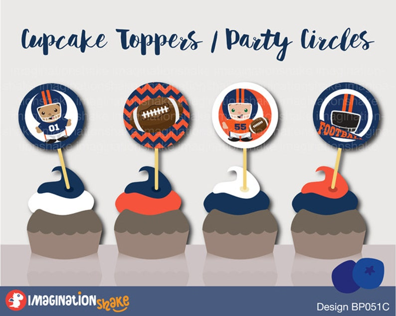 Magnificent Denver Broncos Football Birthday Party Cupcake Toppers Party Etsy Birthday Cards Printable Trancafe Filternl