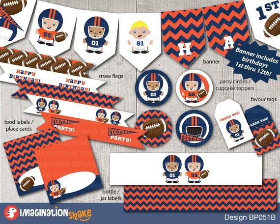Denver Broncos Voetbal Verjaardag Party Pakket Instellen Etsy