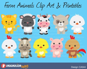 Farm Animals Clip Art & Printables Set / Clipart / Animals Nursery / Baby Shower Animals / Horse / Duck / Rooster / Pig / Dog / Cat / Cow