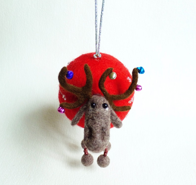 Felted Christmas Ornament Needle Felted Ball Deer Christmas Decor Funny Christmas Ornament Christmas Felt Ball Christmas Deer Christmas Gift