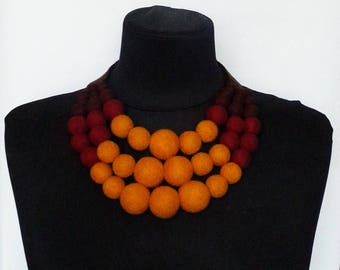 """Felted necklace collar """"Golden Autumn"""" Felt ball jewelry Necklace for women Wool balls jewelry Wife jewelry gift Mother's day gift"""