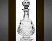 Waterford Crystal Short Stem Brandy Decanter - quot Colleen quot Cut Crystal Pattern, Pristine Condition