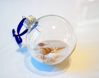 Glass Seashell Christmas Ornament 60mm Set of 3