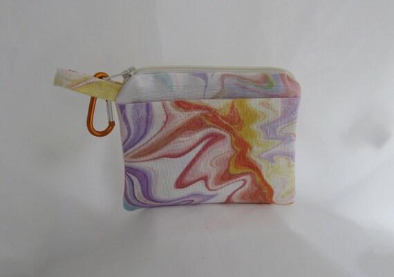 Petit portefeuille Pastel aquarelle tourbillon motif carte de crédit voyage mousqueton pince à sac à dos ou ceinture boucle de fermeture à glissière et deux poches sac doublé
