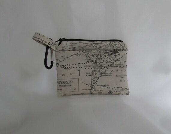 Petit portefeuille Beige carte modèle de carte de crédit voyage mousqueton pince pour sac à dos ou ceinture boucle de fermeture à glissière et deux poches sac doublé