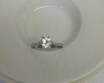 Natural White Zircon Wedding Ring