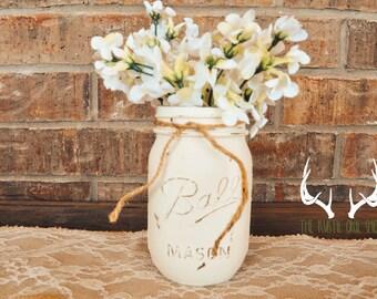 Painted mason jar decor, mason jar decor, wedding centerpiece, rustic mason jar decor, rustic wedding decor, rustic wedding centerpiece