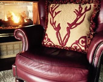 Deer, homemade felt quilted decorative throw pillow.