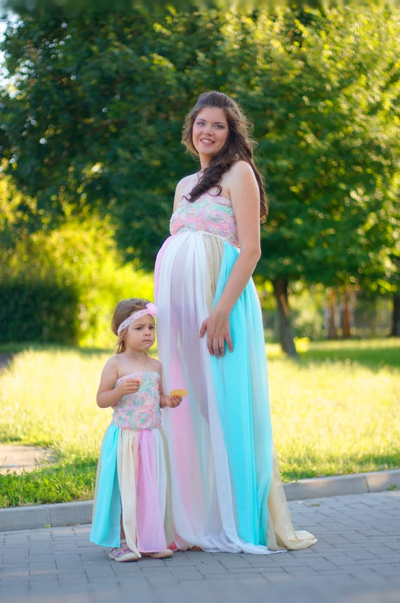Pastel rainbow mommy and me Outfit Rainbow maternity gown | Etsy