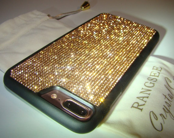 iPhone 8 Plus Case / iPhone 7 Plus Case Rose Gold Rhinestone Crystals on Black Rubber Case. Velvet/Silk Pouch Bag Included, .