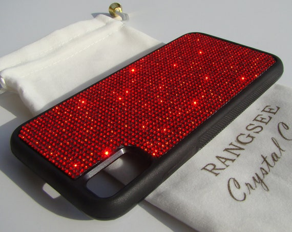 iPhone Xs  Case , Red Siam Rhinestone Crystals on Black Rubber Case. Velvet/Silk Pouch Bag Included, .