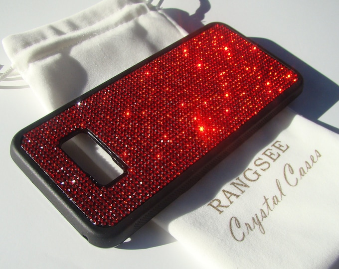 Galaxy s8 Plus Case / Galaxy s8+ Case,  Red Siam Crystals on Black Rubber Case. Velvet/Silk Pouch Bag Included,