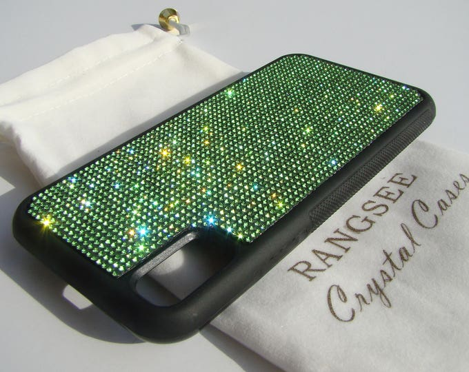 iPhone Xs  Case , Green Peridot Rhinestone Crystals on Black Rubber Case. Velvet/Silk Pouch Bag Included, .