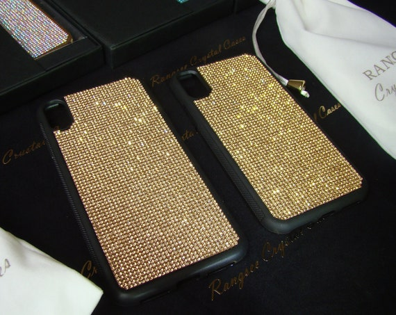 iPhone XS , iPhone XS Max, iPhone XR, iPhone 8 Plus .. Cases Gold Topaz Rhinestone Crystals on Black Tpu Rubber Case, Rangsee Crystal Cases