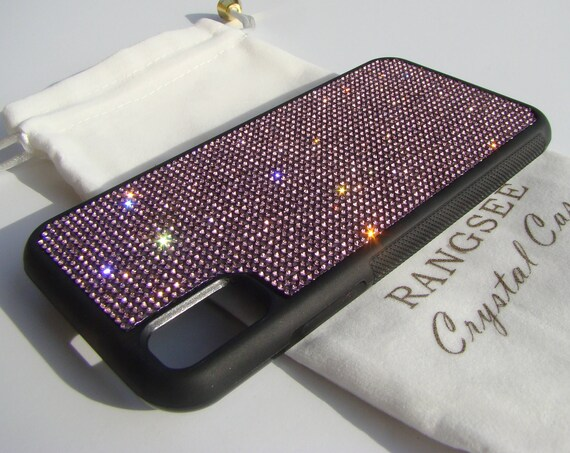 iPhone Xs  Case , Purple Amethyst Rhinestone Crystals on Black Rubber Case. Velvet/Silk Pouch Bag Included, .