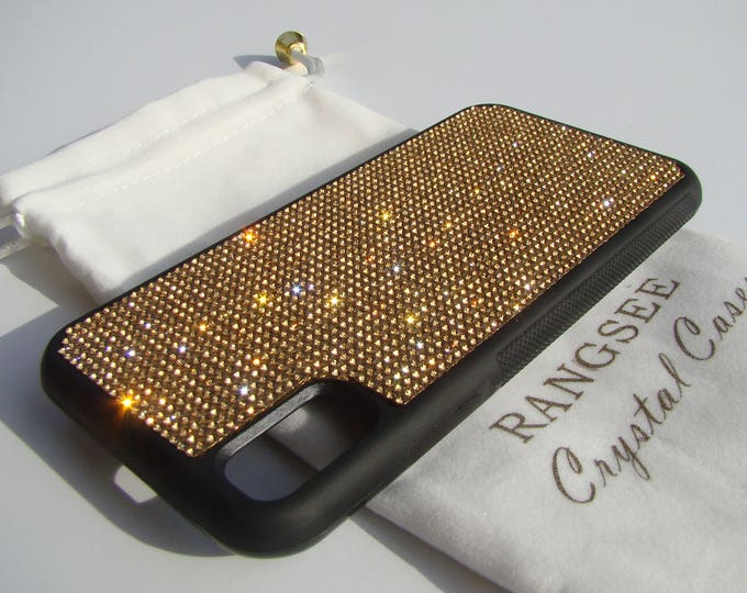 iPhone Xs  Case , Gold Topaz Rhinestone Crystals on Black Rubber Case. Velvet/Silk Pouch Bag Included, .