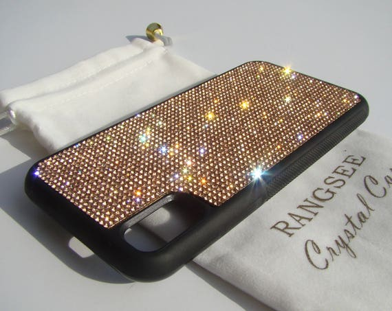 iPhone Xs  Case , Rose Gold Rhinestone Crystals on Black Rubber Case. Velvet/Silk Pouch Bag Included, .