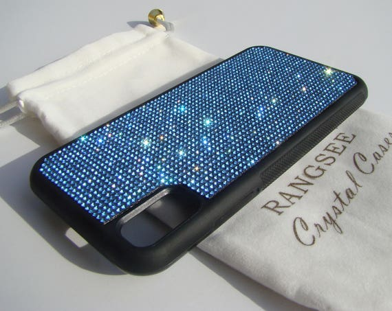 iPhone Xs  Case , Blue Sapphire Rhinestone Crystals on Black Rubber Case. Velvet/Silk Pouch Bag Included, .