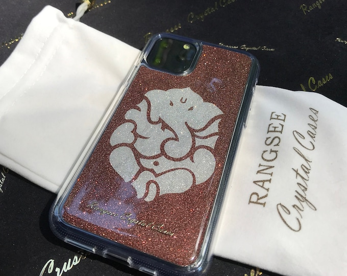 iPhone 11 Case, iPhone 11 Pro case, iPhone 11 Pro Max case,  Brown Glitter Ganesha Limited Edition  Clear PC/TPU rubber Case