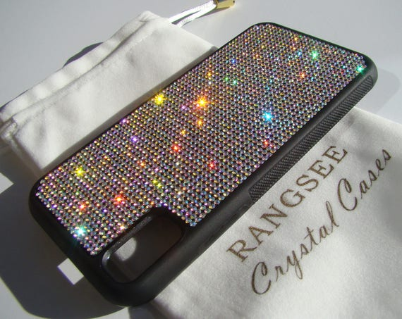 iPhone Xs  Case , Crystal AB  Rhinestone Crystals on Black Rubber Case. Velvet/Silk Pouch Bag Included, .