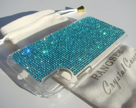 iPhone Xs  Case Aquamarine Blue Rhinestone Crystals on Transparent Clear iPhone Xs  Case. Velvet Pouch Included,