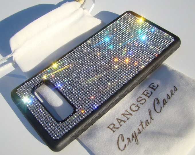 Galaxy Note 8 Case Clear Diamond Rhinestone Crystals Black Rubber Note 8 Case Velvet/Silk Pouch Bag Included, Genuine Rangsee Crystal Cases.
