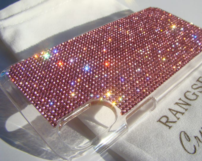 iPhone Xs  Case Pink Rose Rhinestone Crystals on Transparent Clear iPhone Xs  Case. Velvet Pouch Included,