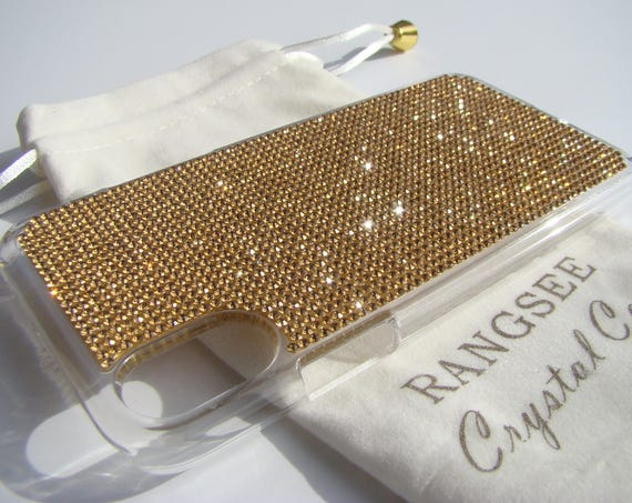 iPhone Xs  Case Gold Topaz Rhinestone Crystals on Transparent Clear iPhone Xs  Case. Velvet Pouch Included,