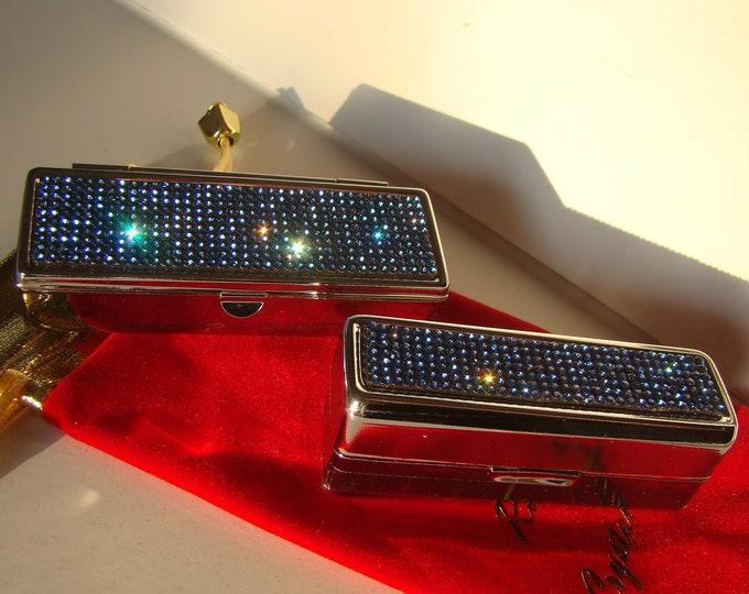 Lipstick Case with Mirror, Lipstick Box, Lipstick Holder, Blue Sapphire Rhinestone Crystals