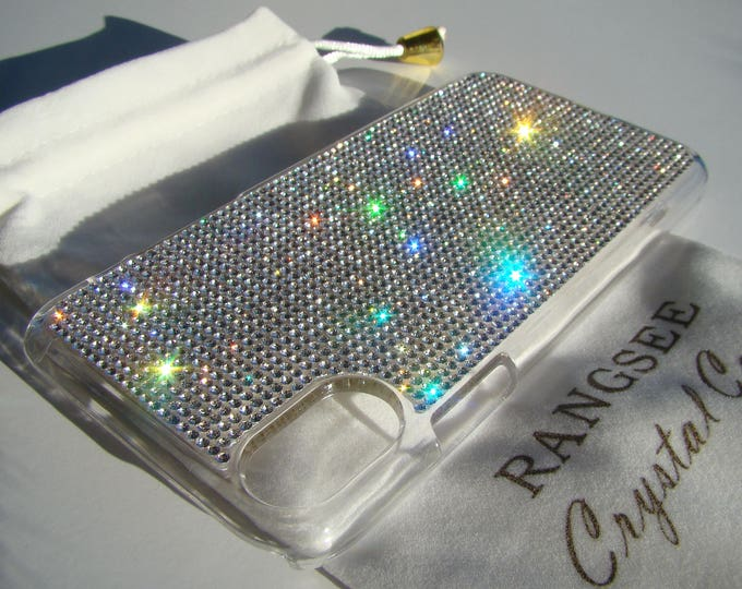 iPhone Xs  Case Clear Diamond Rhinestone Crystals on Transparent Clear iPhone Xs  Case. Velvet Pouch Included,