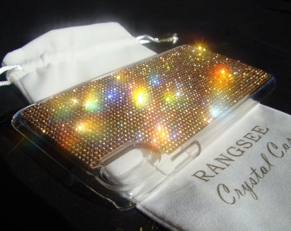 iPhone XS Max. Case Gold Topaz Crystals on Transparent Clear iPhone X Case. Velvet Pouch Included,
