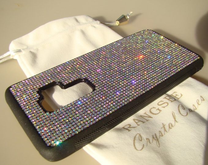 Galaxy Note 10+ / 10 plus Galaxy s9 Plus Case,  Crystal AB Rhinestone Crystals on Black Rubber Case. Velvet/Silk Pouch Bag Included,