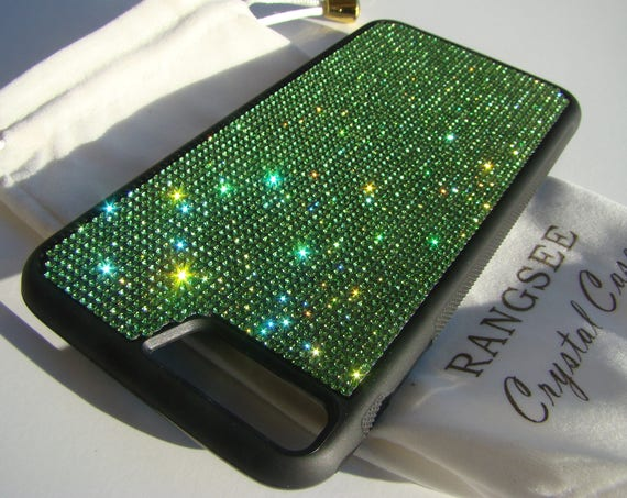 iPhone 8 Plus Case / iPhone 7 Plus Green Peridot Rhinestone Crystal on Black Rubber Velvet/Silk Pouch Bag Included, .