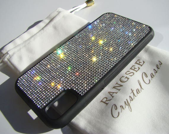 iPhone Xs  Case , Clear Diamond  Rhinestone Crystals on Black Rubber Case. Velvet/Silk Pouch Bag Included, .