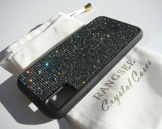 iPhone Xs  Case , Black Diamond Rhinestone Crystals on Black Rubber Case. Velvet/Silk Pouch Bag Included, .