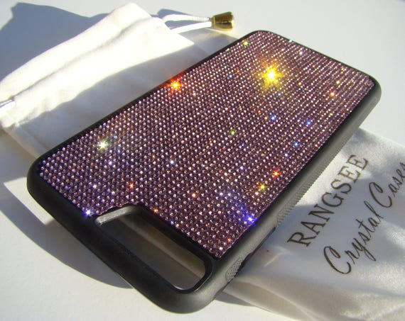iPhone 8 Plus Case / iPhone 7 Plus Purple Amethyst Rhinestone Crystal on Black Rubber Velvet/Silk Pouch Bag Included, .