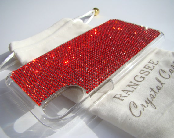 iPhone Xs  Case Red Siam Rhinestone Crystals on Transparent Clear iPhone Xs  Case. Velvet Pouch Included,