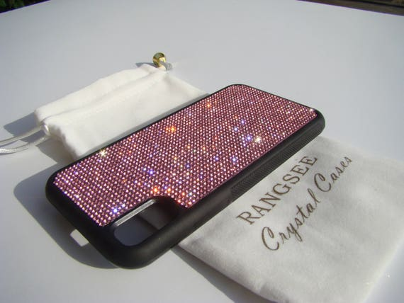 iPhone Xs  Case , Pink Rose Rhinestone Crystals on Black Rubber Case. Velvet/Silk Pouch Bag Included, .