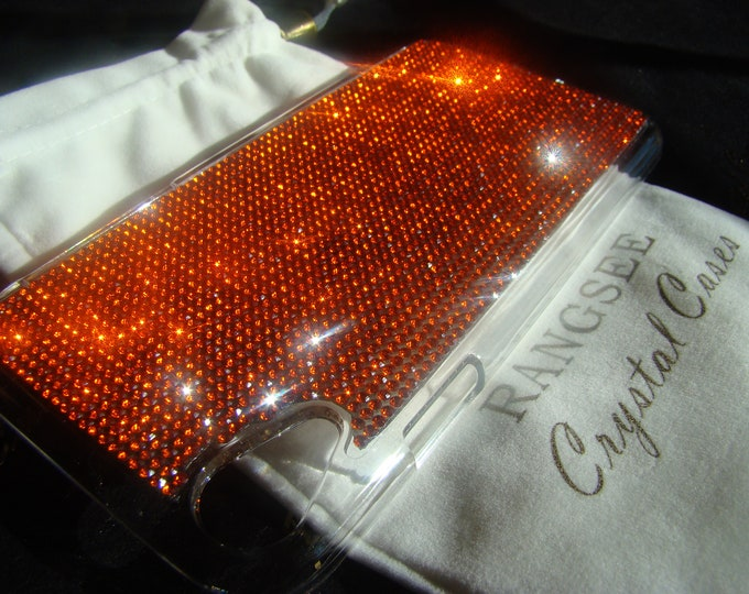 iPhone XR Case Coral Rhinestone Crystals on Transparent Clear iPhone XR Case. (This listing are for one (1) case. Velvet Pouch Included,