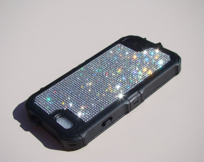 """iPhone 6 / 6s  4.7"""" Clear Diamond Rhinestone Crystals on Black Rubber """" The Terminator """" Case. Genuine Rangsee Crystal Cases"""